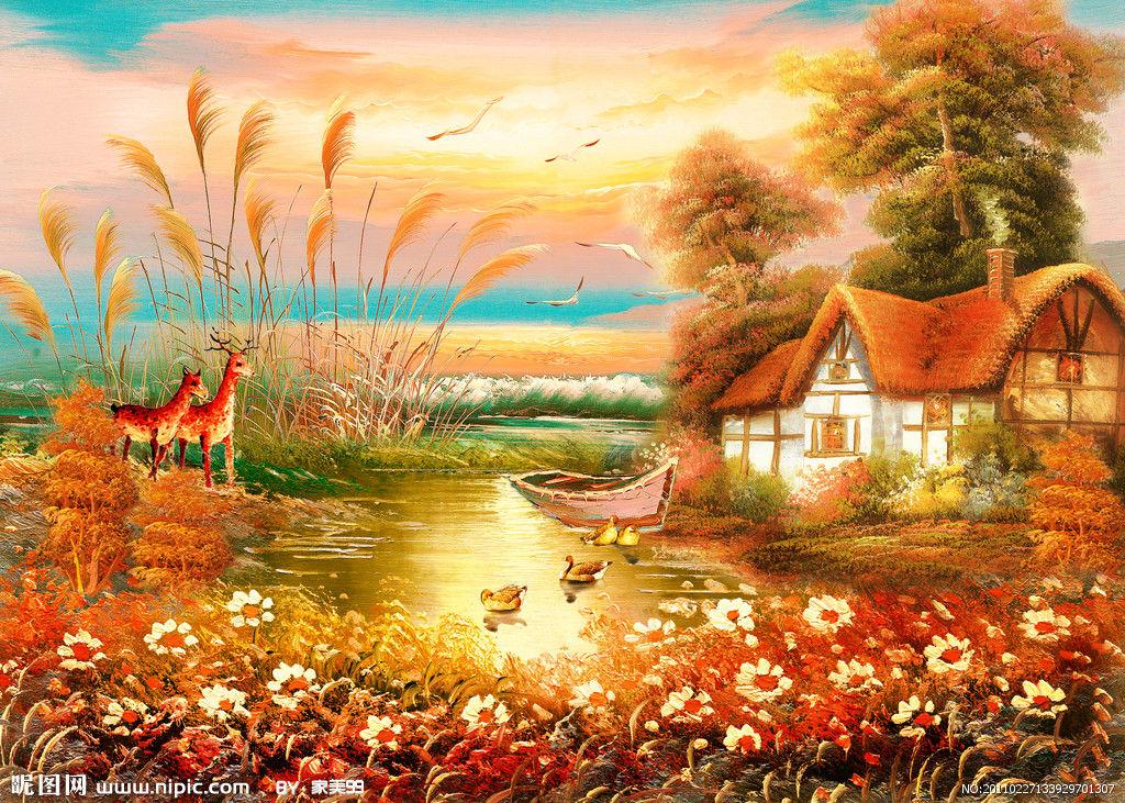 彩铅内蒙古风景画